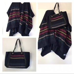 Sweaters - MATCHING NAVY STRIPED PONCHO AND TOTE